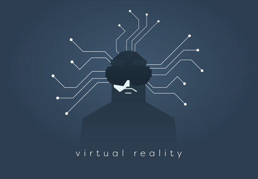 """Virtual Reality"" Shadowed User Illustration"