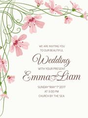Wedding invite card gypsophyla flowers on beige