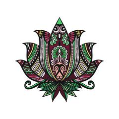 Vector Indian hand drawn hamsa with ethnic ornaments. Beautiful India ethnica ornament. Folk Henna tattoo style