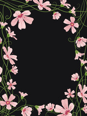 Gypsophila floral frame border template on black