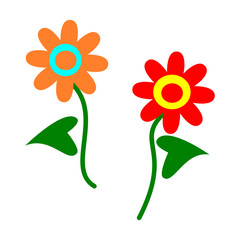 Simple stylized cartoon flowers orange blue and red yellow green isolated on white - icon, banner or design element