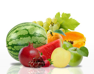 healthy fruits isolated on white