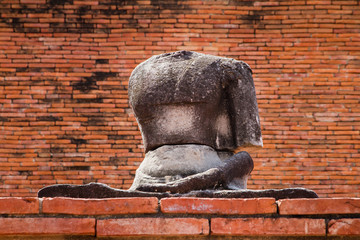 Ayutthaya, Thailand - October, 21, 2016 : Ancient buddha statues
