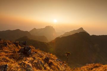 Landscape sunset at Doi Luang Chiang Dao, High mountain in Chian