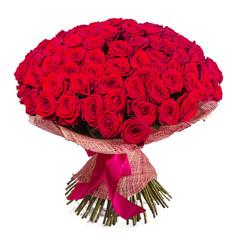 Big red roses bunch isolated on white background