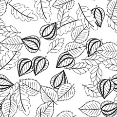 Black and white seamless pattern with flowers, leaves for coloring
