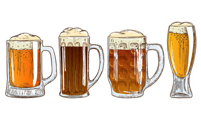 Set of mugs of beer
