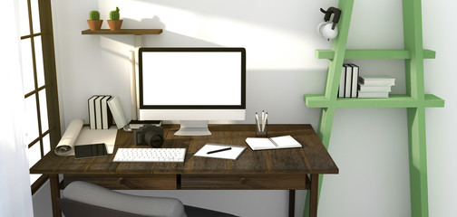 3D Rendering : illustration of modern creative workplace mockup.PC monitor on wooden table.translucent curtain and glass window with sunrise shining from outside.clipping path included