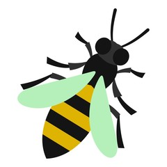 Bee icon. Flat illustration of bee vector icon for web