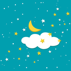 Night sky with moon, stars and cloud. Night sky in fairy tale style. Scattering of white and yellow stars.