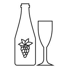 Bottle of wine icon. Outline illustration of bottle of wine vector icon for web