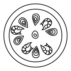 Pizza with shrimp icon. Outline illustration of pizza with shrimp vector icon for web