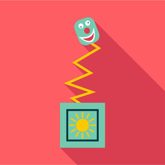 Toy on spring in box icon. Flat illustration of toy on spring in box vector icon for web