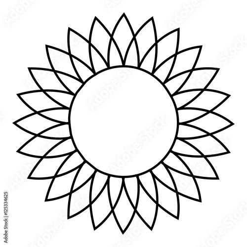 """""""Sunflower icon. Outline illustration of sunflower vector ..."""