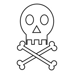 Skull icon. Outline illustration of skull vector icon for web