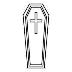 Coffin icon. Outline illustration of coffin vector icon for web