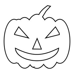 Pumpkin on halloween icon. Outline illustration of pumpkin on halloween vector icon for web