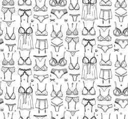 Seamless pattern Hand drawn doodle Lingerie icon set. Fashion feminine vector illustration. Sexy lacy woman underwear symbol collection. Cartoon sketch element: bra, panties, corset, brassiere, string