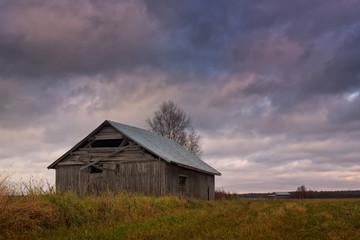 Old Barn House Under The Autumn Skies