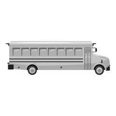 School bus icon. Gray monochrome illustration of school bus vector icon for web