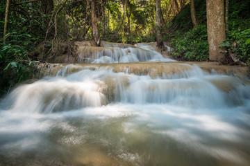 Pu Kaeng waterfall the most beautiful limestone waterfall in Chiangrai province of Thailand.