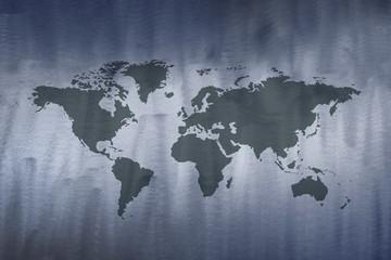 World Map on Metal Grunge Texture Background