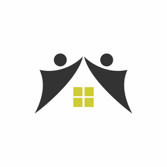 Abstract People House - Vector Logo Icon
