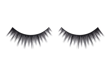 Close up a New false Eyelashes for woman eyes isolated on white background with copy space