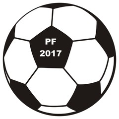 soccer ball, PF 2017, vector icon