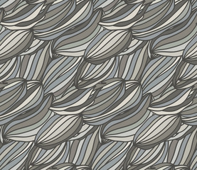 Gray colored seamless pattern. Hand drawn doodles