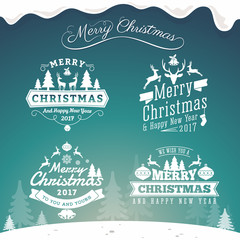 Set of Christmas decoration typography tag and label design. Merry Christmas and happy new year 2017. Vector illustration