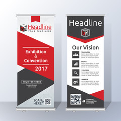 Roll Up Banner Template Design with Abstract Red and Black Geometric. Vector illustration