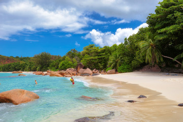 Beautiful tropical beach Anse Lazio, Praslin on the Seychelles