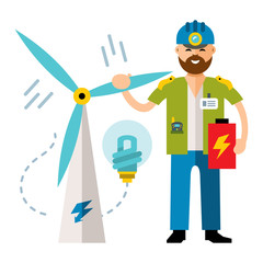 Vector Man Wind power. Flat style colorful Cartoon illustration.