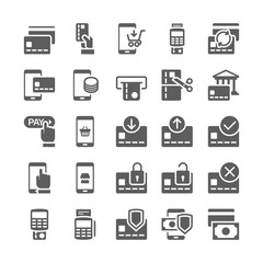 Pay online and mobile banking icons