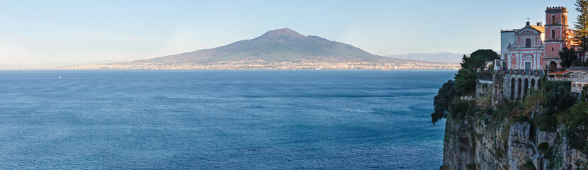 Poster Cote Naples coast and Mount Vesuvius, Italy.