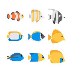 Cute tropical sea fish vector illustration icons set