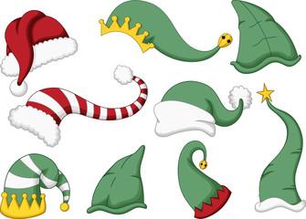 cute collection of santa hat cartoon
