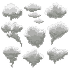 Cartoon smoke vector illustration. Smoking gray fog clouds on white background
