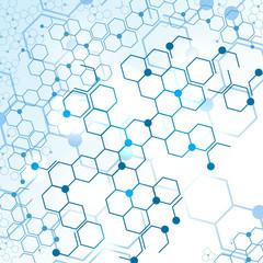 Molecular structure gene medical coding vector blue elements