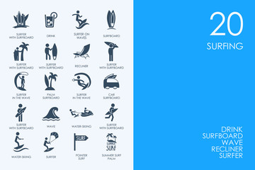 Set of BLUE HAMSTER Library surfing icons