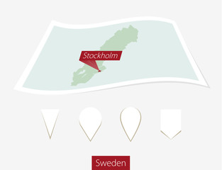 Curved paper map of Sweden with capital Stockholm on Gray Background. Four different Map pin set. Vector Illustration.