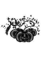 Halloween pumpkin faces drawing  on white background. Black silhouette.