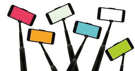 colorful mobile phones on selfie sticks