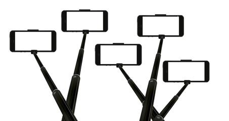 five selfie sticks with modern mobile phones