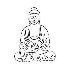 Vector Buddha in line hand drawn sketch style on white background