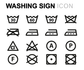 Vector line washing signs line usb icons set