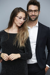 Beautiful couple wearing glasses, portrait