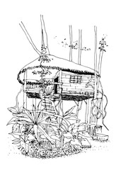 Vector illustration-Hand drawn the girls sleep under tree