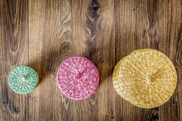 Set of color wood baskets